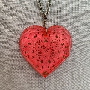 Forever 21 Jewelry - Hot Pink Heart Necklace